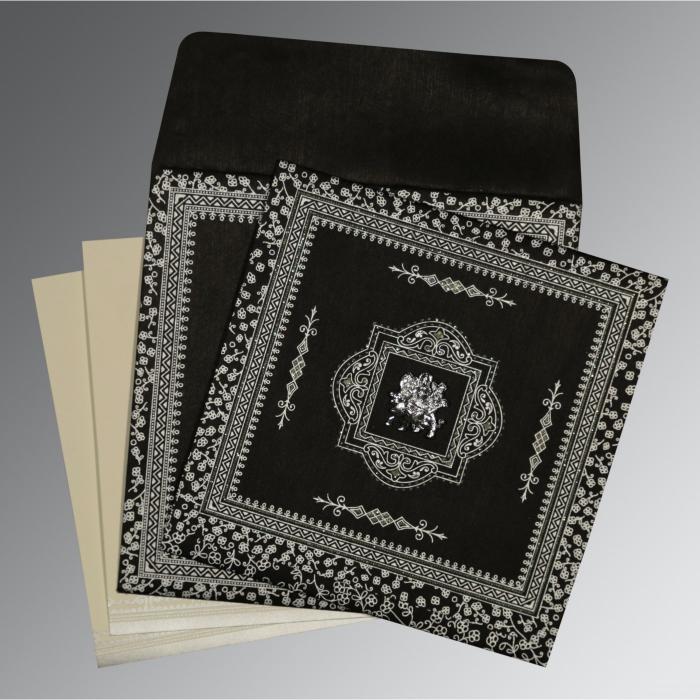 Black Wooly Glitter Wedding Card : G-8205L - 123WeddingCards