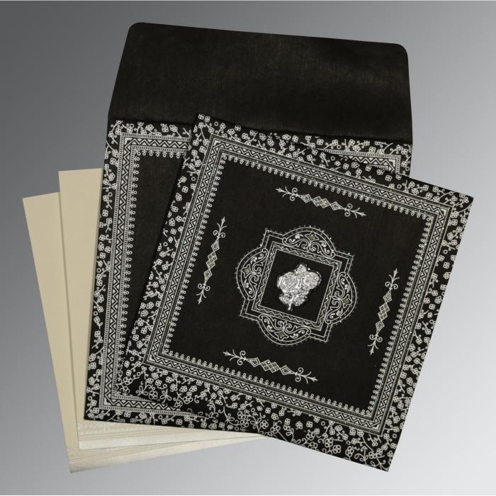 Black Wooly Glitter Wedding Card : I-8205L - 123WeddingCards