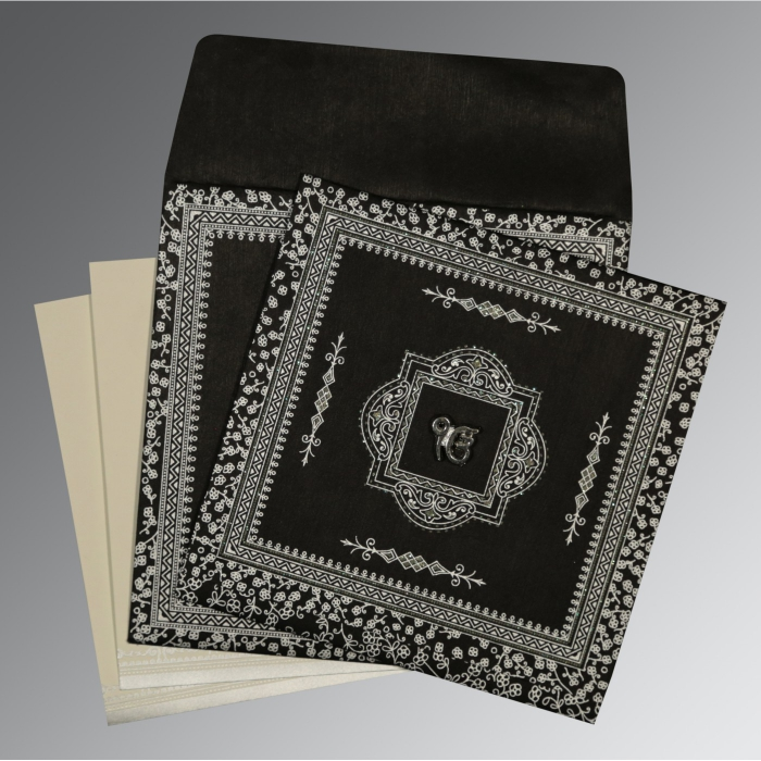 Black Wooly Glitter Wedding Card : S-8205L - 123WeddingCards