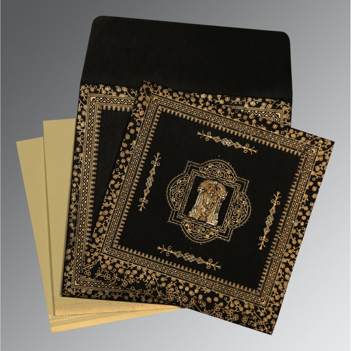 Black Wooly Glitter Wedding Card : SO-8205K - 123WeddingCards
