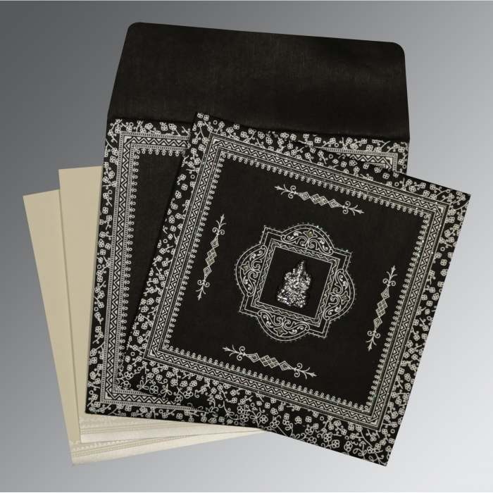BLACK WOOLY GLITTER WEDDING CARD : W-8205L - 123WeddingCards