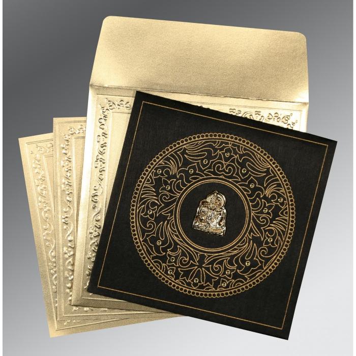 Black Wooly Screen Printed Wedding Card : G-8214D - 123WeddingCards
