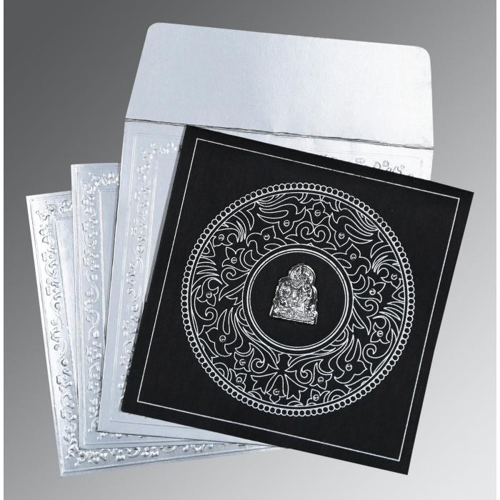 Black Wooly Screen Printed Wedding Invitations : G-8214N - 123WeddingCards