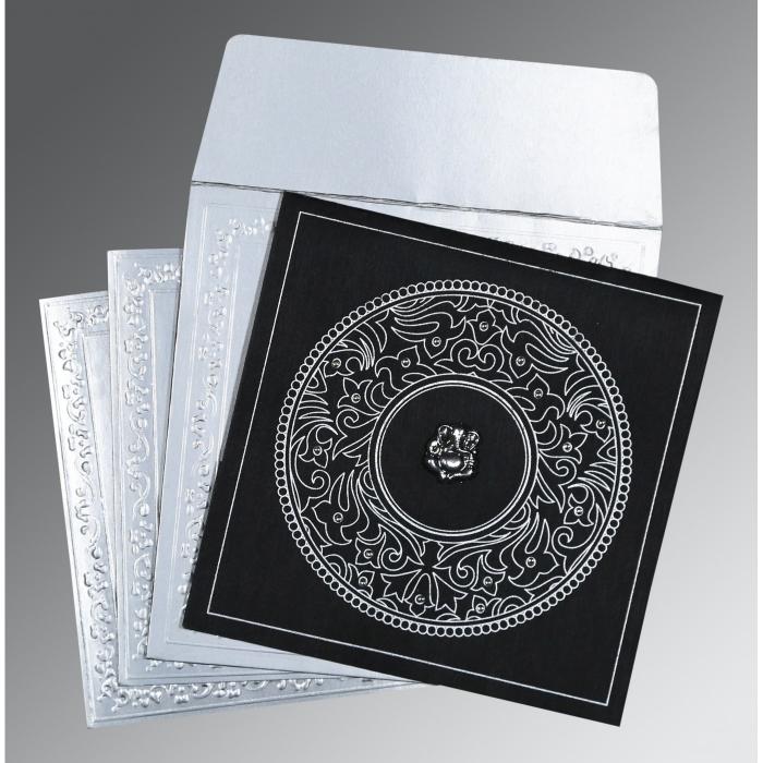 Black Wooly Screen Printed Wedding Card : IN-8214N - 123WeddingCards
