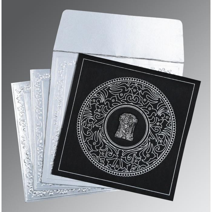 Black Wooly Screen Printed Wedding Card : SO-8214N - 123WeddingCards