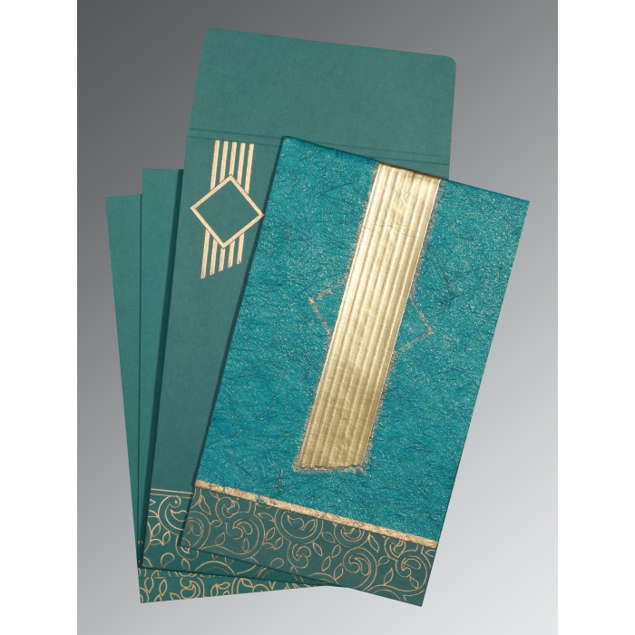 TEAL BLUE MATTE BOX THEMED - EMBOSSED WEDDING INVITATION : D-1438 - 123WeddingCards