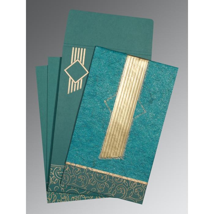 Blue Box Themed - Embossed Wedding Invitation : I-1438 - 123WeddingCards