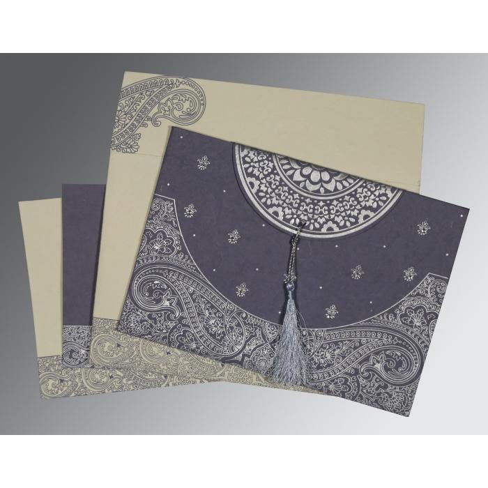 Blue Handmade Cotton Embossed Wedding Card : C-8234J - 123WeddingCards