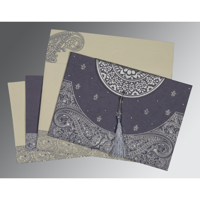 Blue Handmade Cotton Embossed Wedding Card : G-8234J - 123WeddingCards