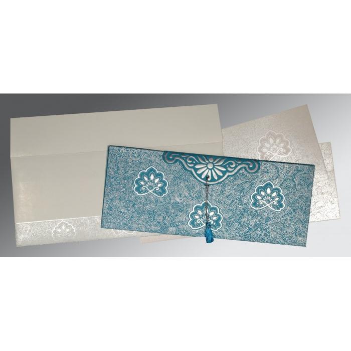 TEAL BLUE HANDMADE COTTON EMBOSSED WEDDING INVITATION : I-1410 - 123WeddingCards