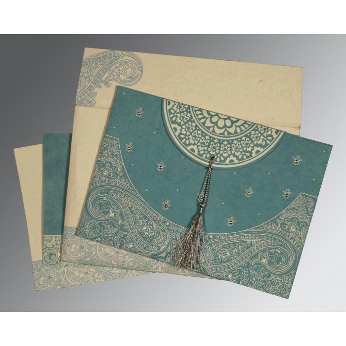 Blue Handmade Cotton Embossed Wedding Card : I-8234E - 123WeddingCards