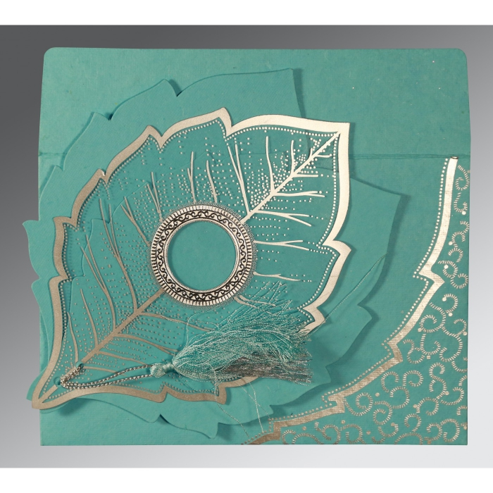 TURQUOISE BLUE HANDMADE COTTON FLORAL THEMED - FOIL STAMPED WEDDING CARD : C-8219P - 123WeddingCards