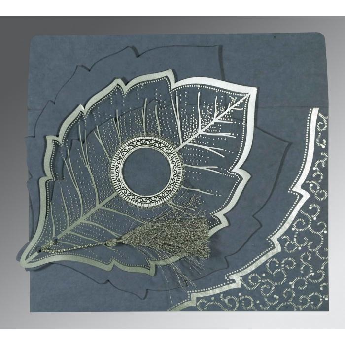 Blue Handmade Cotton Floral Themed - Foil Stamped Wedding Card : G-8219E - 123WeddingCards