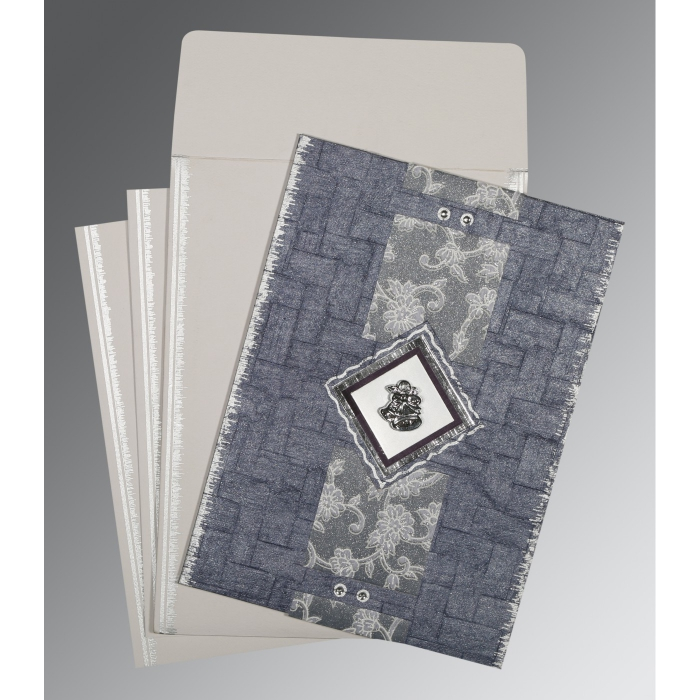 GRAYISH BLUE HANDMADE COTTON SCREEN PRINTED WEDDING CARD : C-1277 - 123WeddingCards
