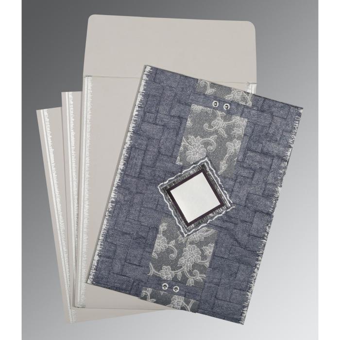GRAYISH BLUE HANDMADE COTTON SCREEN PRINTED WEDDING CARD : D-1277 - 123WeddingCards