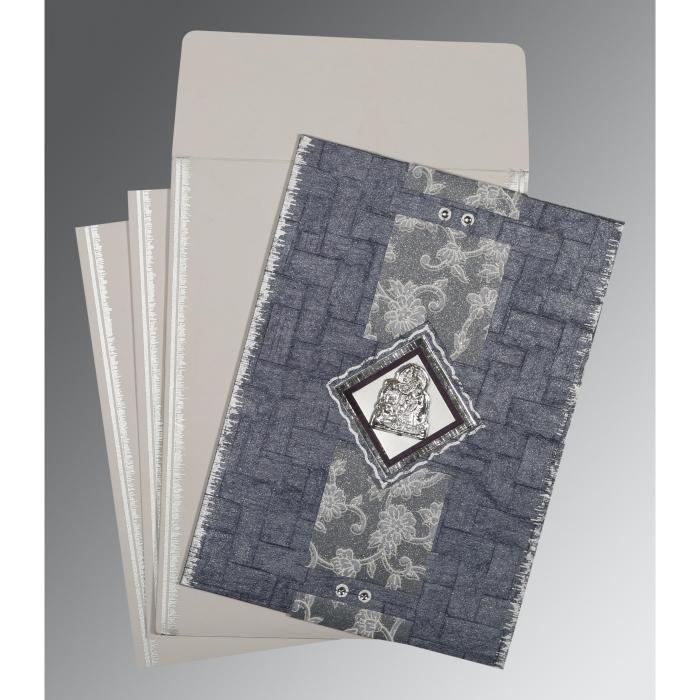Blue Handmade Cotton Screen Printed Wedding Card : G-1277 - 123WeddingCards