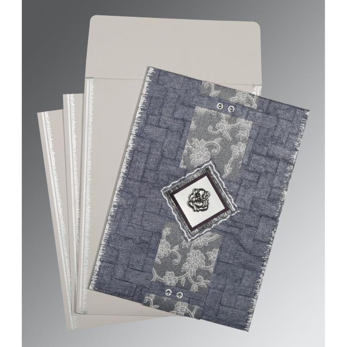 GRAYISH BLUE HANDMADE COTTON SCREEN PRINTED WEDDING CARD : W-1277 - 123WeddingCards