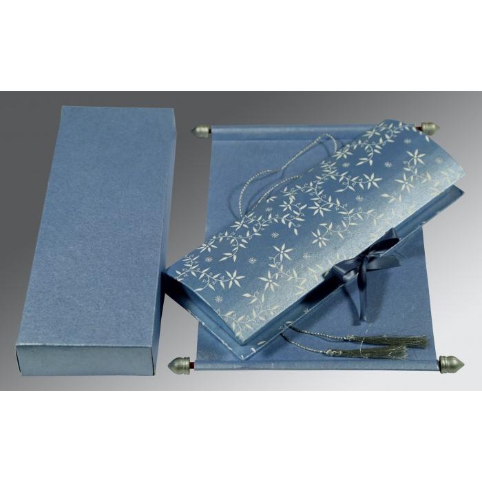 Blue Handmade Shimmer Wedding Invitation : SC-5007K - 123WeddingCards