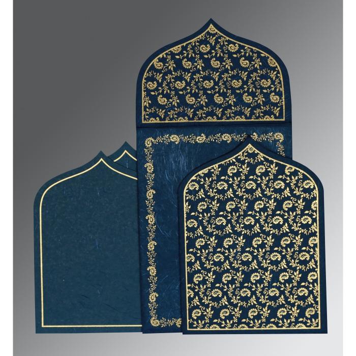 Blue Handmade Silk Paisley Themed - Glitter Wedding Invitation : W-8208B - 123WeddingCards