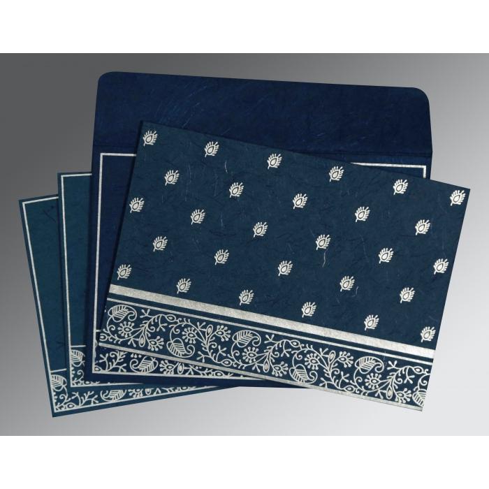 Blue Handmade Silk Screen Printed Wedding Card : RU-8215I - 123WeddingCards