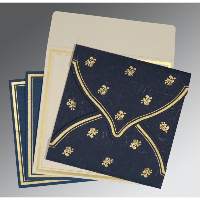 Blue Handmade Silk Unique Themed - Screen Printed Wedding Card : W-8203B - 123WeddingCards