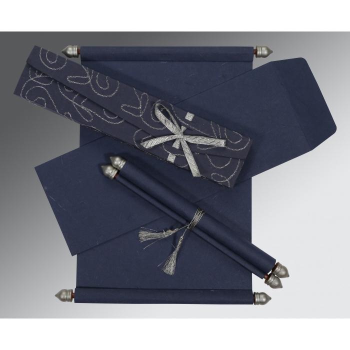 Blue Handmade Silk Wedding Invitations : SC-5002D - 123WeddingCards