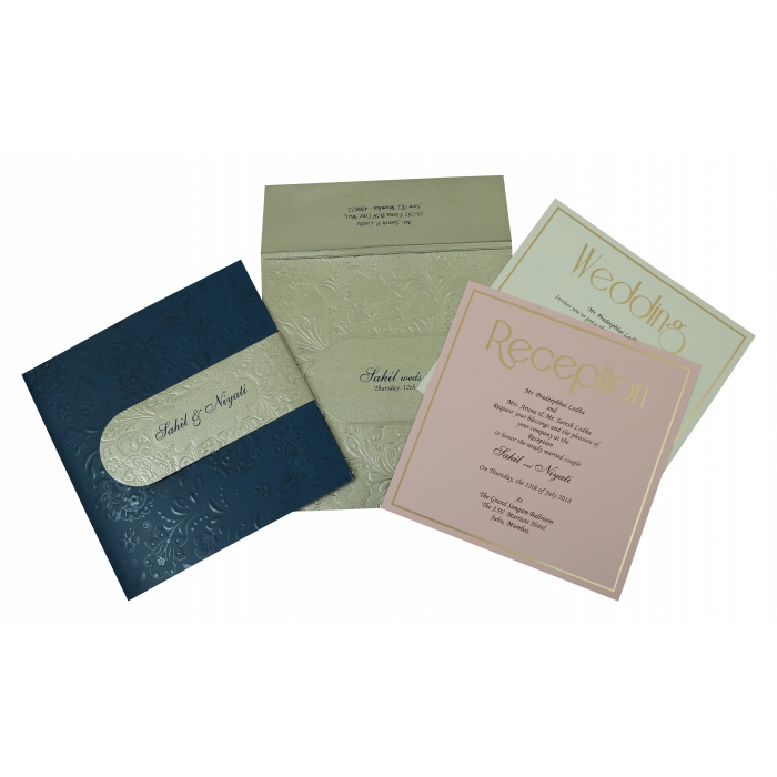 Blue Matte Box Themed - Embossed Wedding Invitation : IN-1799 - 123WeddingCards