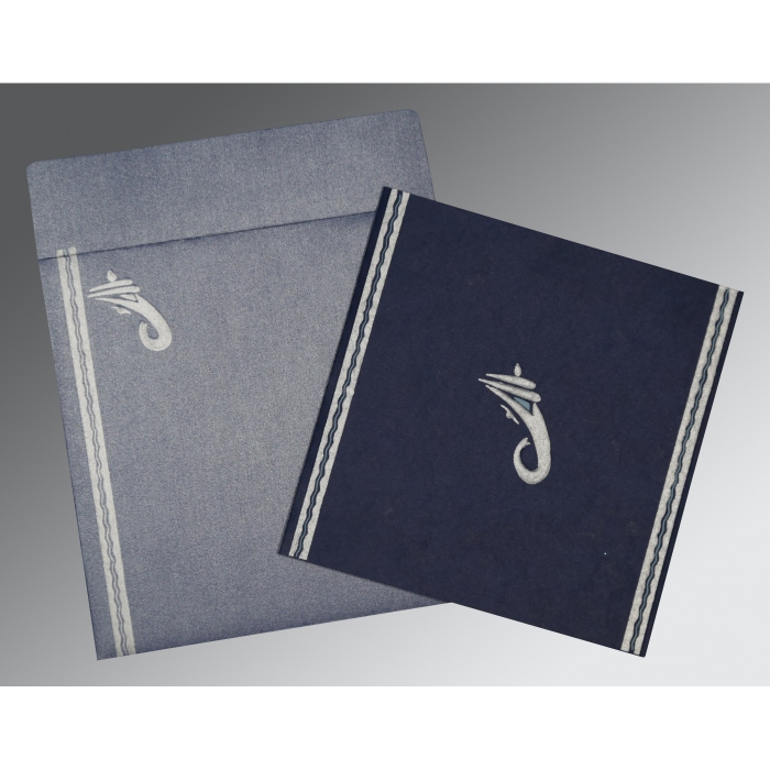 Blue Matte Embossed Wedding Invitations : IN-2179 - 123WeddingCards