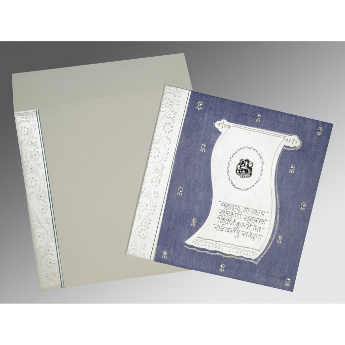 BLUE MATTE EMBOSSED WEDDING CARD : W-2109 - 123WeddingCards