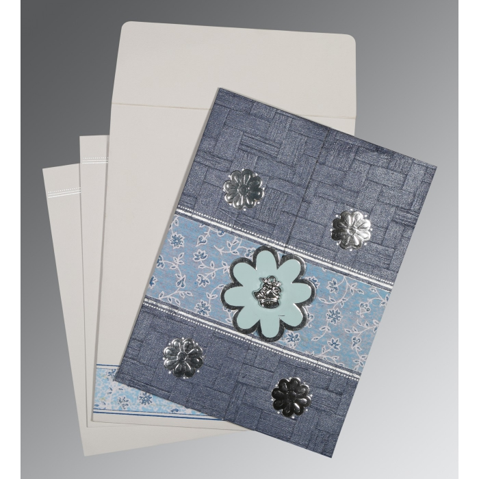 Blue Matte Floral Themed - Embossed Wedding Card : C-1285 - 123WeddingCards