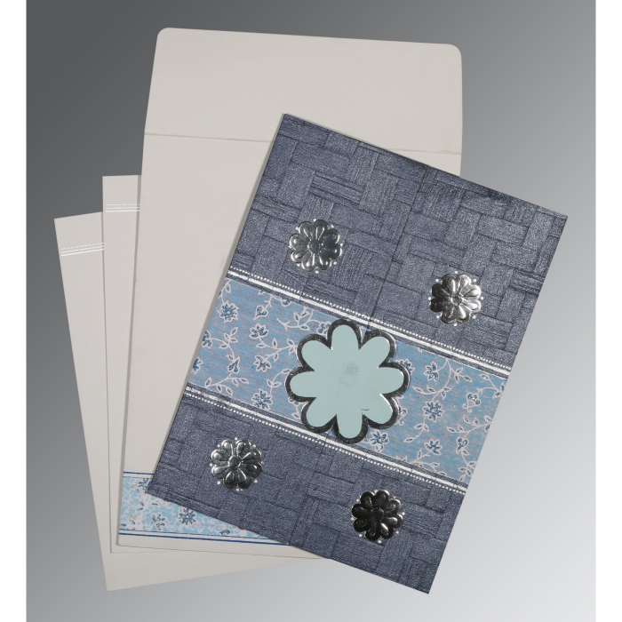 GRAYISH BLUE MATTE FLORAL THEMED - EMBOSSED WEDDING CARD : D-1285 - 123WeddingCards