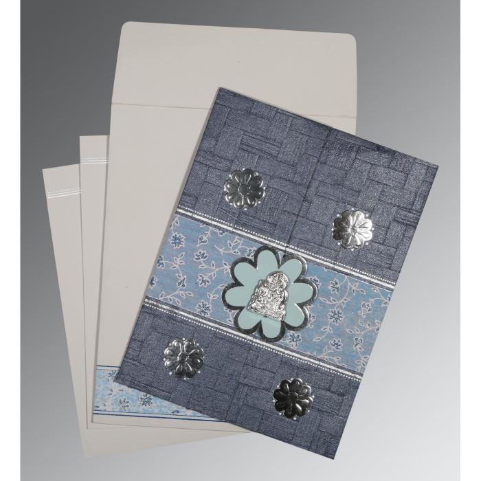 Blue Matte Floral Themed - Embossed Wedding Card : G-1285 - 123WeddingCards