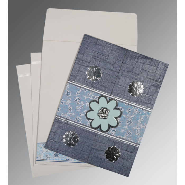 GRAYISH BLUE MATTE FLORAL THEMED - EMBOSSED WEDDING CARD : W-1285 - 123WeddingCards