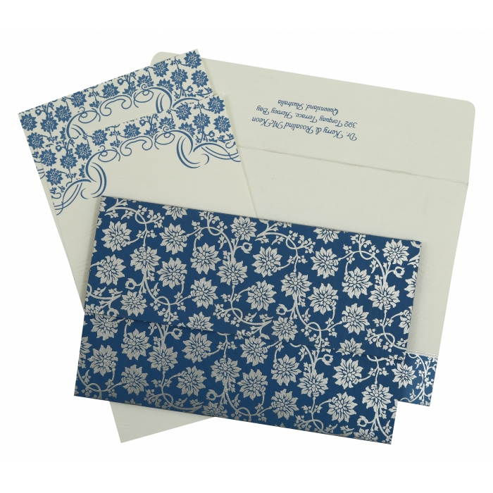 BLUE MATTE FLORAL THEMED - SCREEN PRINTED WEDDING INVITATION : I-810A - 123WeddingCards