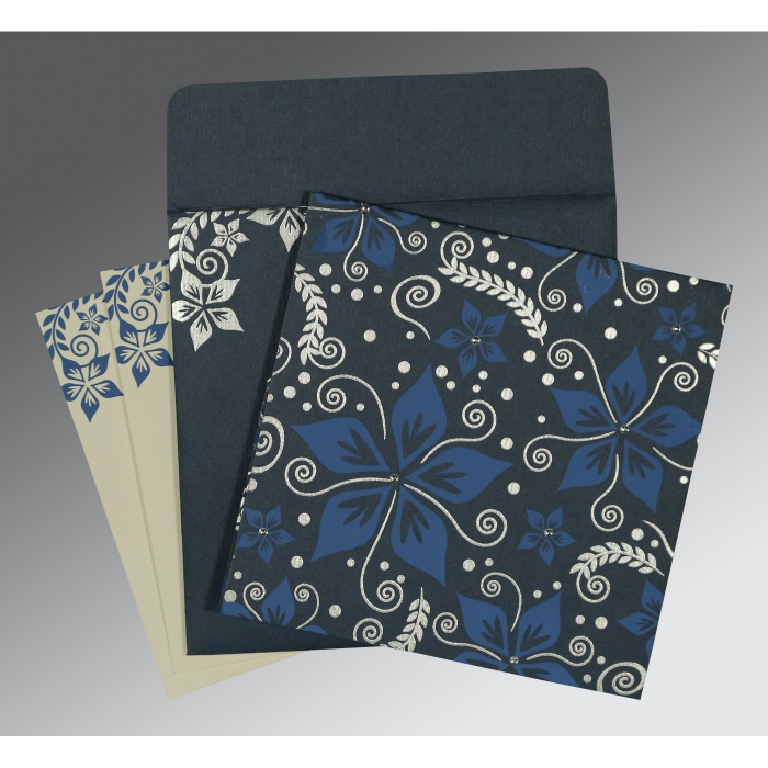 GRAYISH BLUE MATTE FLORAL THEMED - SCREEN PRINTED WEDDING INVITATION : C-8240C - 123WeddingCards