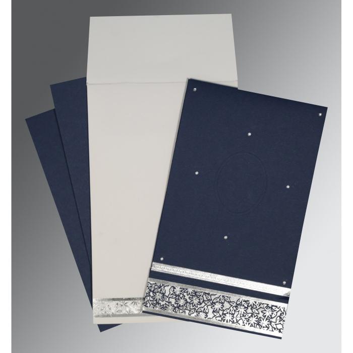 Blue Matte Foil Stamped Wedding Invitation : RU-1433 - 123WeddingCards