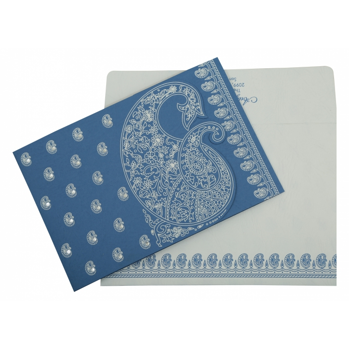 BLUE MATTE PAISLEY THEMED - SCREEN PRINTED WEDDING INVITATION : IN-807D - 123WeddingCards