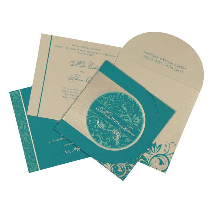 STRONG CYAN MATTE PAISLEY THEMED - SCREEN PRINTED WEDDING CARD : C-8264G - 123WeddingCards
