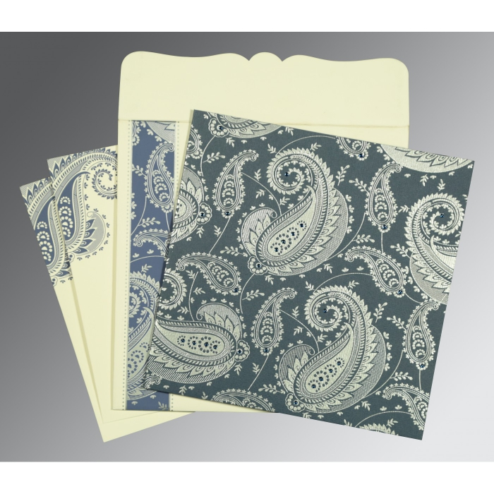 Blue Matte Paisley Themed - Screen Printed Wedding Card : I-8250E - 123WeddingCards