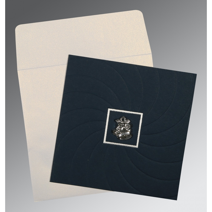 PRUSSIAN BLUE MATTE POCKET THEMED - EMBOSSED WEDDING CARD : C-1436 - 123WeddingCards