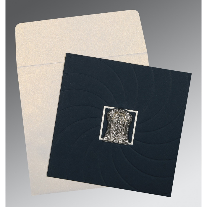 Blue Matte Pocket Themed - Embossed Wedding Card : SO-1436 - 123WeddingCards