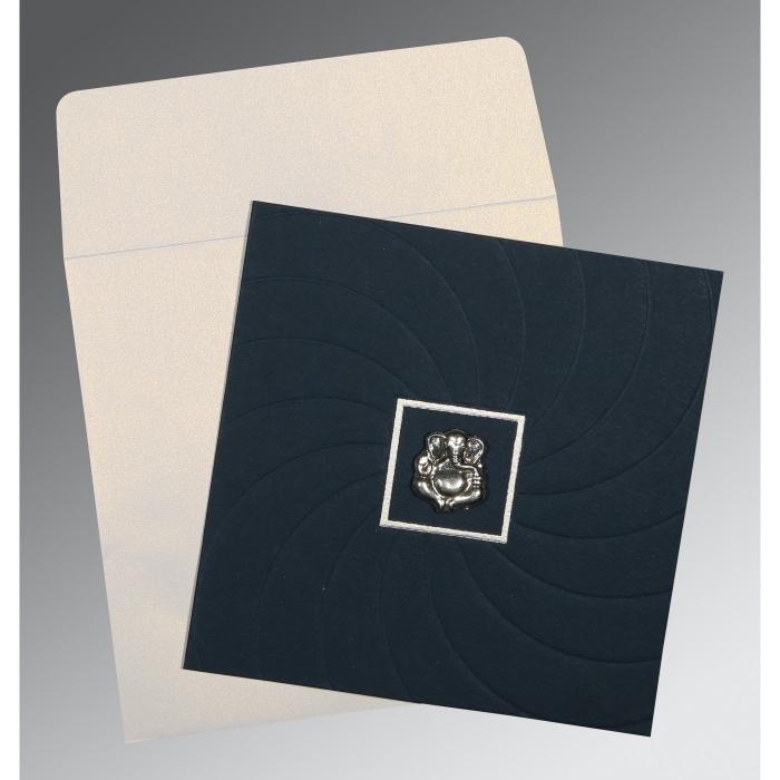 Blue Matte Pocket Themed - Embossed Wedding Card : W-1436 - 123WeddingCards