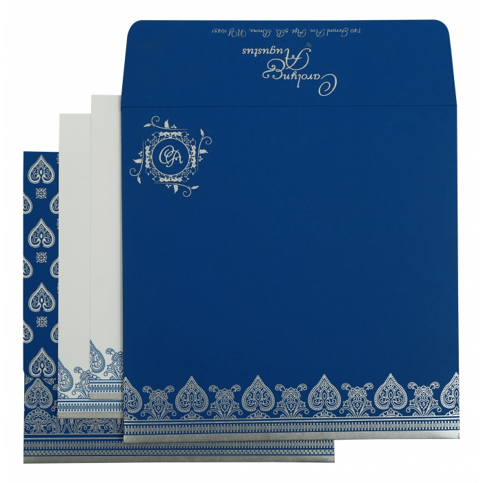 BLUE MATTE SCREEN PRINTED WEDDING INVITATION : IN-809D - 123WeddingCards