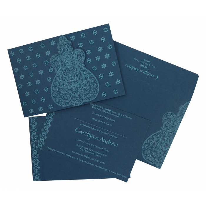 TEAL BLUE PAISLEY THEMED - SCREEN PRINTED WEDDING INVITATION : W-801E - 123WeddingCards