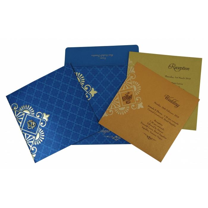 Blue Shimmery Box Themed - Screen Printed Wedding Invitation : IN-1795 - 123WeddingCards