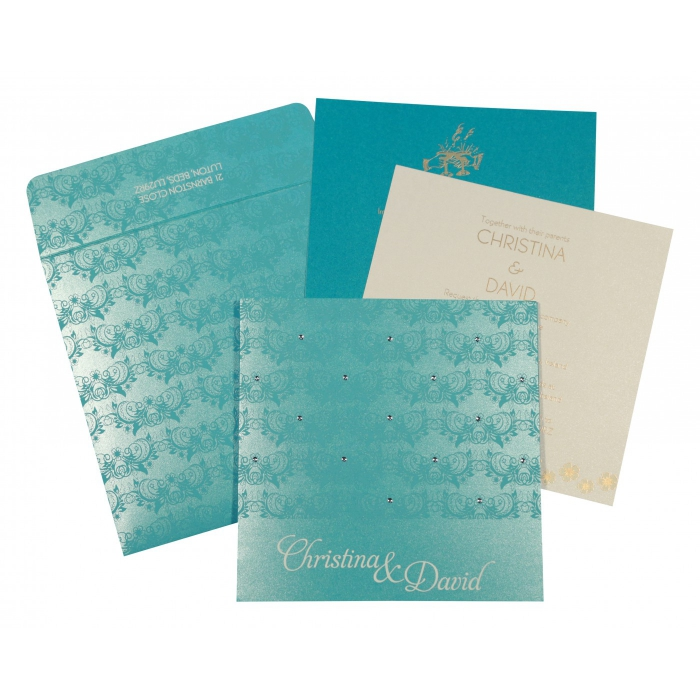 TURQUOISE SHIMMERY BUTTERFLY THEMED - SCREEN PRINTED WEDDING CARD : W-8258D - 123WeddingCards