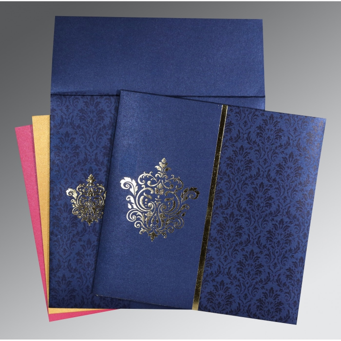 BLUE SHIMMERY DAMASK THEMED - FOIL STAMPED WEDDING CARD : W-1503 - 123WeddingCards