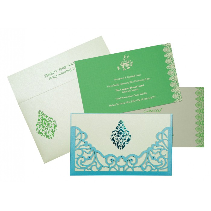 CYAN BLUE SHIMMERY DAMASK THEMED - LASER CUT WEDDING CARD : C-8262A - 123WeddingCards