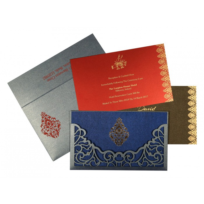 Blue Shimmery Damask Themed - Laser Cut Wedding Card : S-8262E - 123WeddingCards