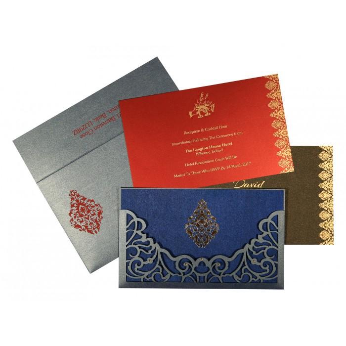 Blue Shimmery Damask Themed - Laser Cut Wedding Card : W-8262E - 123WeddingCards